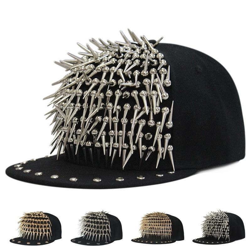 Beckyruiwu adulte Hip Hop PUNK Rock longue pointe goujons Rivets Snapback casquettes hommes Bboy Cool plat Baseball chapeaux