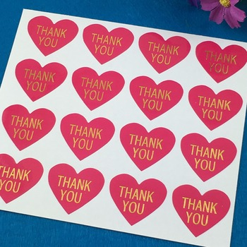 600PCS/Lot Thank you LabelsThermoprinting Rose Red Color Heart-shaped Stickers Label Adhesive Labels For Car/Gift/cup/iphone/ image