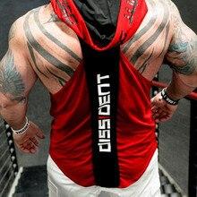 Kulturystyka Stringer Tank Top z kapturem męskie odzież gimnastyczna Fitness męskie kamizelki bez rękawów bawełniane koszulki sportowa eksponująca mięśnie kamizelka