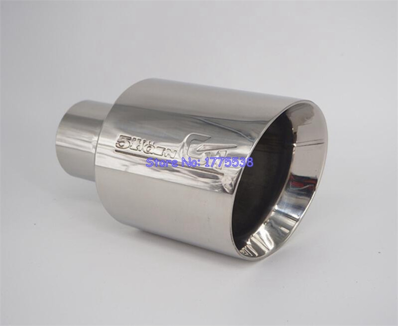 Stainless Steel ID:63mm OD:114mm Car Muffler Tip Exhaust End Pipe Double-Layer Beval Universal Racing Car Exhaust Tip stylish stainless steel car exhaust pipe muffler tip for benz 320 350 500