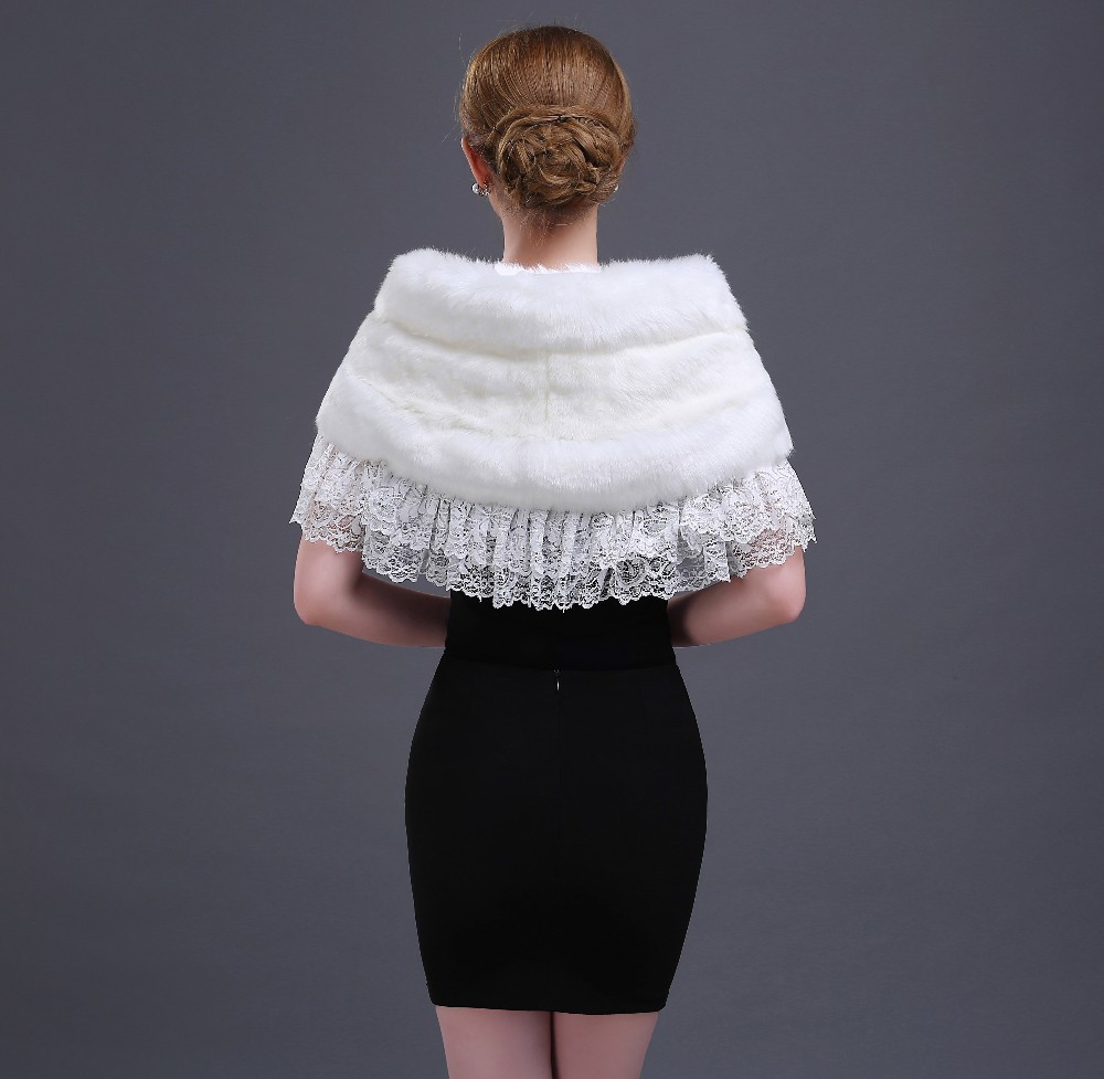 Real Photos ivory fur white lace wedding accessories