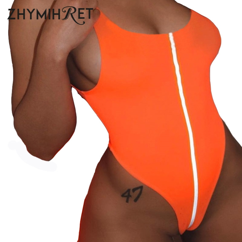 ZHYMIHRET 2019 Summer Sexy Reflective Strip Bodysuits Skinny Orange Body Mujer Swim Wear Bodycon Rompers Womens   Jumpsuit