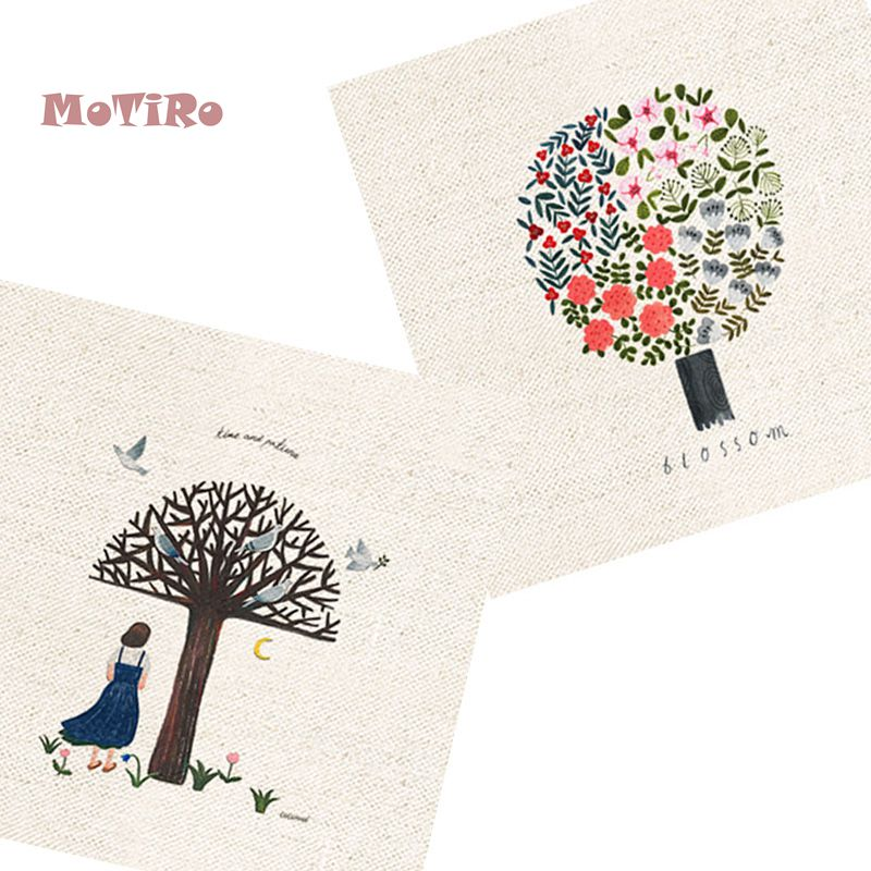 Smart Motiro,2pcs/lot,cotton Linen Fabric,painting Pattern,plain Hand Dyed Cloth Of Table Mat/mouse Pad/apron Pocket/pillow Decoration To Win A High Admiration Apparel Sewing & Fabric