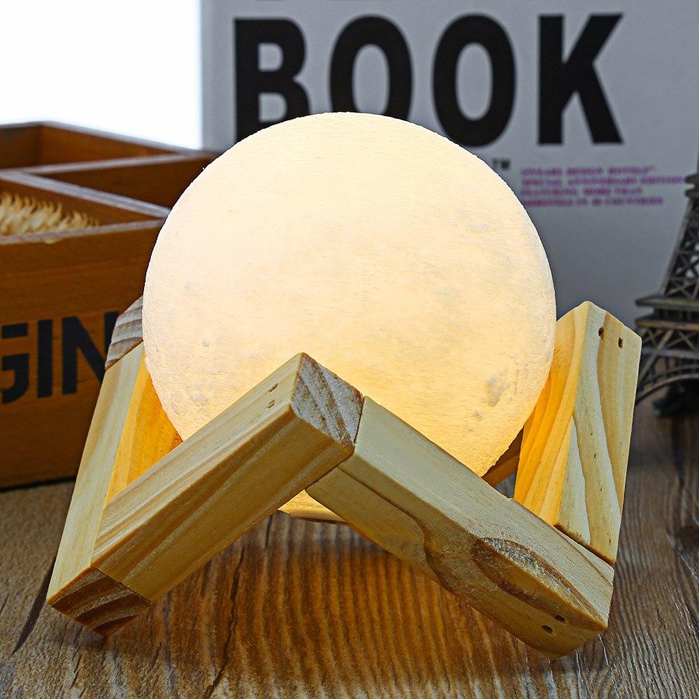 3D печать Луны лампа ночник 2 Цвет изменить сенсорный выключатель ночь Лампы для мотоциклов Домашний декор с деревянным держателем 7.8 см 9 см 10 см 12 см 15 см 18 см