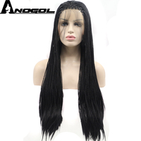 Anogol Long Straight 1B Black Micro Synthetic Braided Lace Front Wig Baby Hair Wigs For Women Heat Resistant Fiber