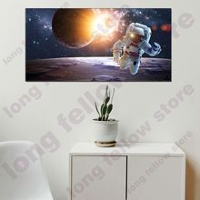 Huge Picture Abstract Landscape Canvas Painting Print Astronaut Portrait Wall Art for Lobby Office Bedroom Wall Decor Wholesale 3 panels circular canvas print golden line mountain landscape abstract picture chinese painting for office home decor wholesale