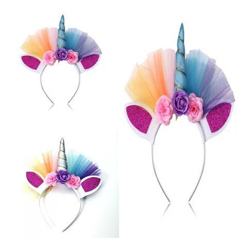Unicorn Horn Headband Cosplay Tulle Rainbow Colorful Elastic Hair Accessories
