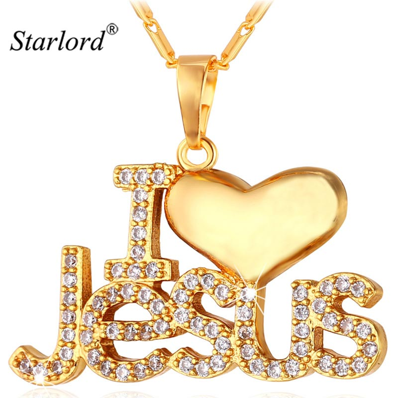 Starlord Jesus Piece Pendant Necklace Trendy Gold Color Chain Crystal Heart Necklace Women/Men Christian Jewelry P1128 trendy solid color heart pendant necklace for women