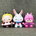3 Стили Аниме Kawaii Алиса в Стране Чудес Мягкого Плюша Игрушки Алиса Чеширский Кот Белый Кролик игрушки Куклы Подарки Для Детей 18-24 см
