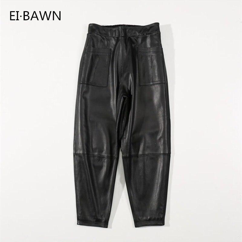 2018 automne hiver pantalon femmes réel peau de mouton noir XXXL grande taille lâche décontracté Style de rue dames pantalon en cuir véritable
