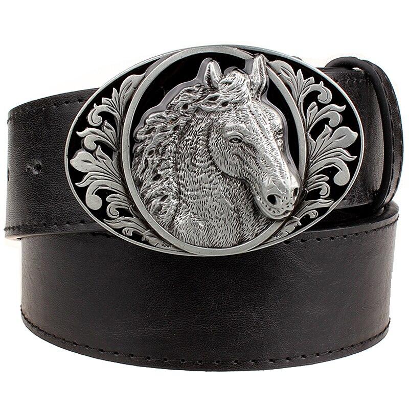 Fashion Belt Horse Pattern Animal Belts Cowboy Style Men's Jeans Belt Punk Rock Style Accessories