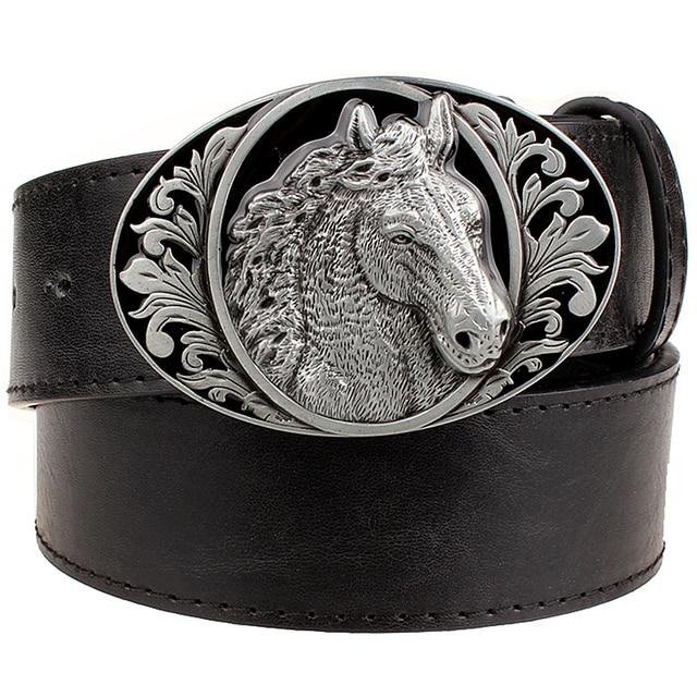b01467a574 Moda cinturón caballo patrón animal cinturones vaquero estilo hombres jeans  cinturón punk rock estilo Accesorios