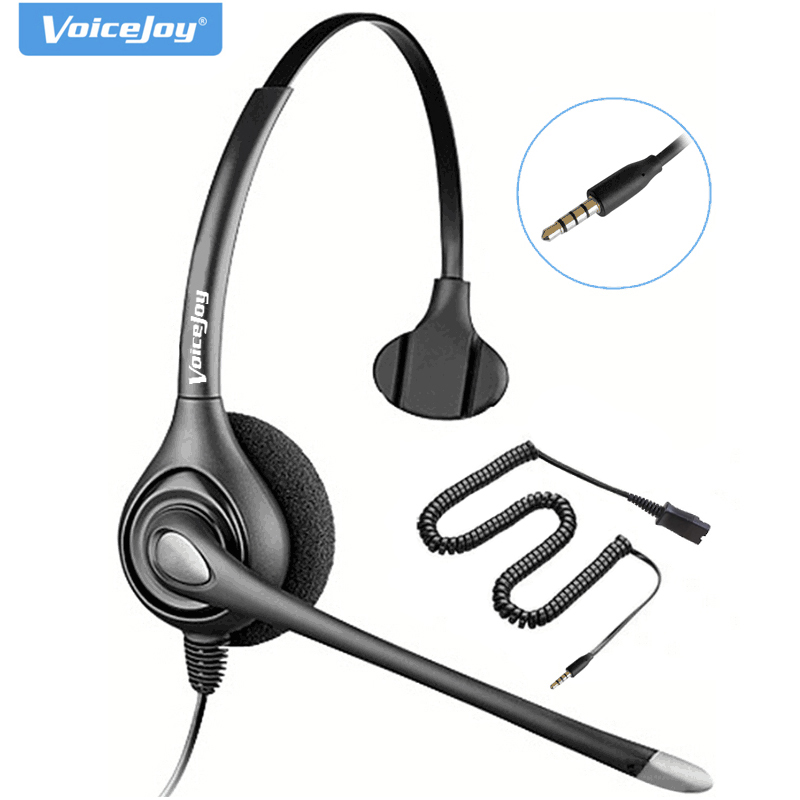 Call Center Headset With Mic QD (Quick Disconnect) Headset Single 3.5mm Plug For Laptop