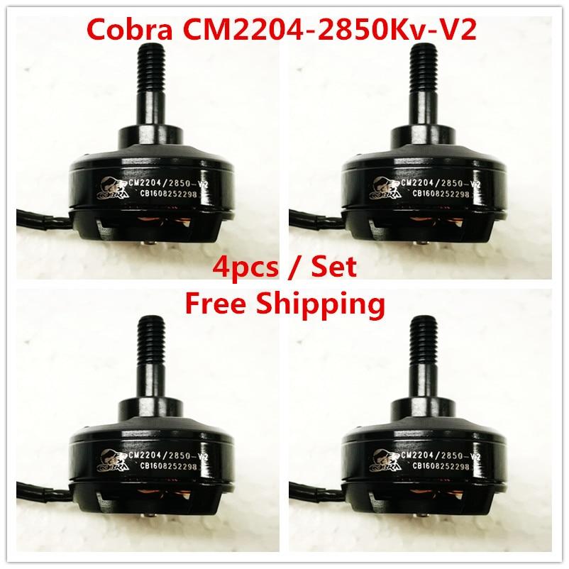 Cobra Motor CM2204-2850-V2 Superlight Brushless Motor for Mini drone,Fpv racing, Kv=2850, 4pcs in 1 set, Free Shipping cobra ru 775ct