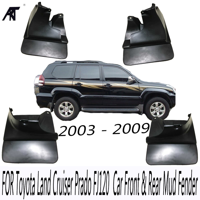 Black Front & Rear Mud Fender Flaps Splash Guard Mudguard Cover Trim For Toyota Land Cruiser Prado FJ120 2003 - 2009 Mudflaps 2 pcs pair rear bumper lights without bulbs tail fog lamps for toyota land cruiser prado fj120 2002 2009
