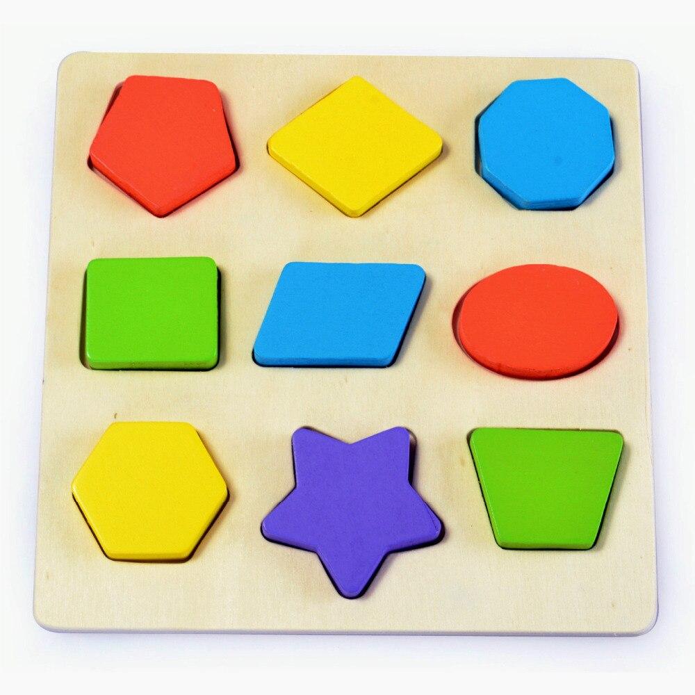 Ingyenes szállítás Geometria klasszikus Puzzle játék 2PCS Baby Geometriai kirakós játék gyerekek korai tanulás Montessori Fa Puzzle játék