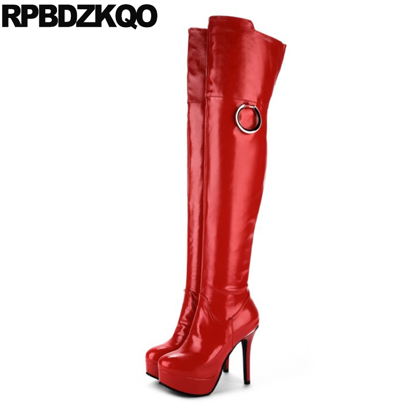 Dance Stiletto Red Shoes Patent Leather Over The Knee Fetish 12 44 Ladies High Heel Pole Dancing Thigh Boots For Plus Size Women free shipping sm sexy patent leather queen pole dancing shoes women thigh high boots zapatos mujer boot customize big size 12cm