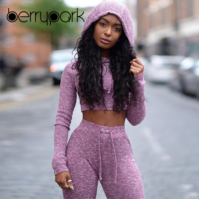 BerryPark Knitted Tracksuit Women Casual 2 Pieces Sets Long Sleeve Ribbed Crop Tops Hoodies and Calf Length Pants Sweat Suits