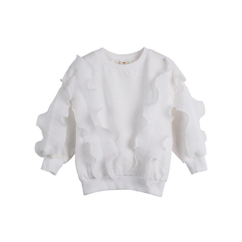 Girls Spring Sweatshirt Children Fashion Flounced Hoodies Baby Girls Cotton Clothes Kids Ruffle Girls Clothing Outer Wear CA2591