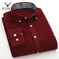 MCHAMCHI Mens S Business Casual Shirt Men 7 Color Code Corduroy Slim Male Long Sleeved Dress
