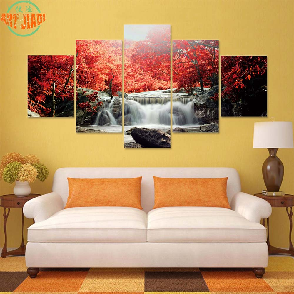 4 Piece/set or 5 Piece/set Canvas Art Waterfall and Blue Stream ...