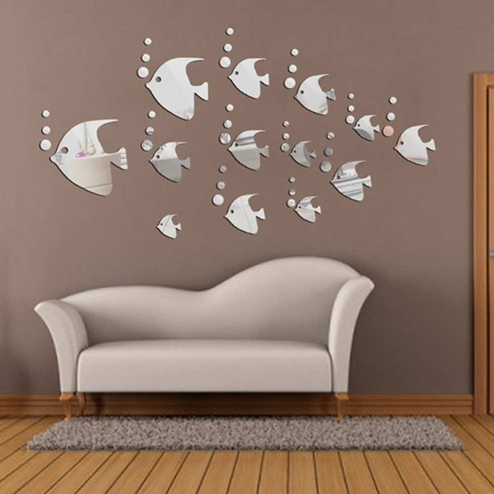 13 PCS DIY Silver Tropical Fish Mirror Wall Sticker Home Mural Ornament Wall Sticker Modern Animal Stickers For Home Decoration