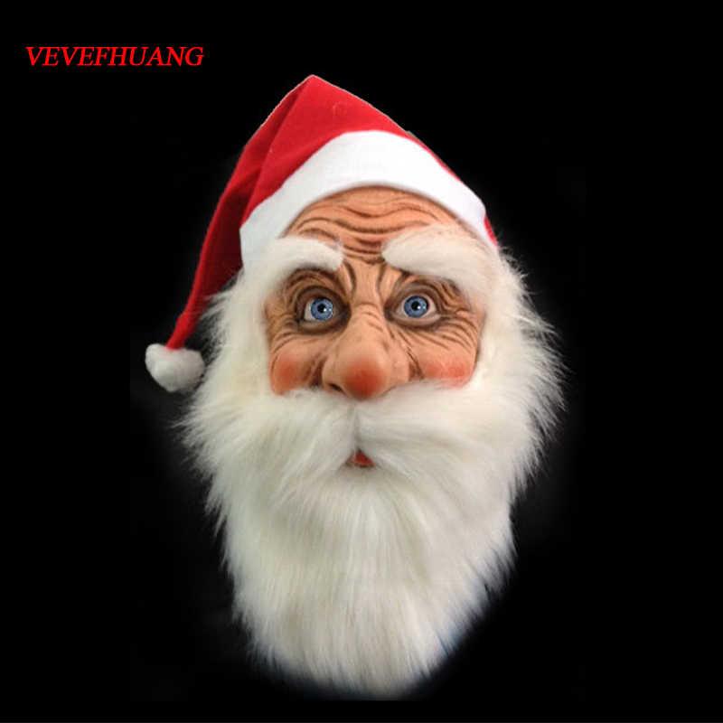 VEVEFHUANG, смешная маска Санта-Клауса, маска Санта-Клауса для лица, парик, костюм для бороды, для рождественской вечеринки, праздничная маска для взрослых на Хэллоуин