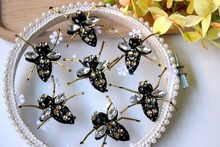 10 pieces / lot 3D Small insects beaded crystal patch can be used for hair ornaments shoes hats DIY clothing accessories