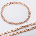 Hot Sale 4mm Rose Gold Filled GF Bracelet Necklace Jewelry Set Womens Mens Chain Girls Boys Snail Link Free Shipping GS181