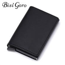 BISI GORO 2019 Unisex Metal Blocking Credit Card Holder With RFID Cowhide Leather Slim Vintage Non-scan Wallet Dropshipping