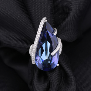 Image 4 - Mücevher bale 20Ct doğal Iolite mavi mistik kuvars yüzük 925 ayar gümüş Vintage kokteyl yüzükler kadınlar için güzel takı