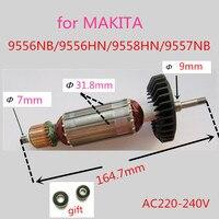 Rotor Motor Armature AC220 240V For MAKITA 9555HN 9556NB 9556HN 9558HN 9557NB Angle Grinder Accessories Parts