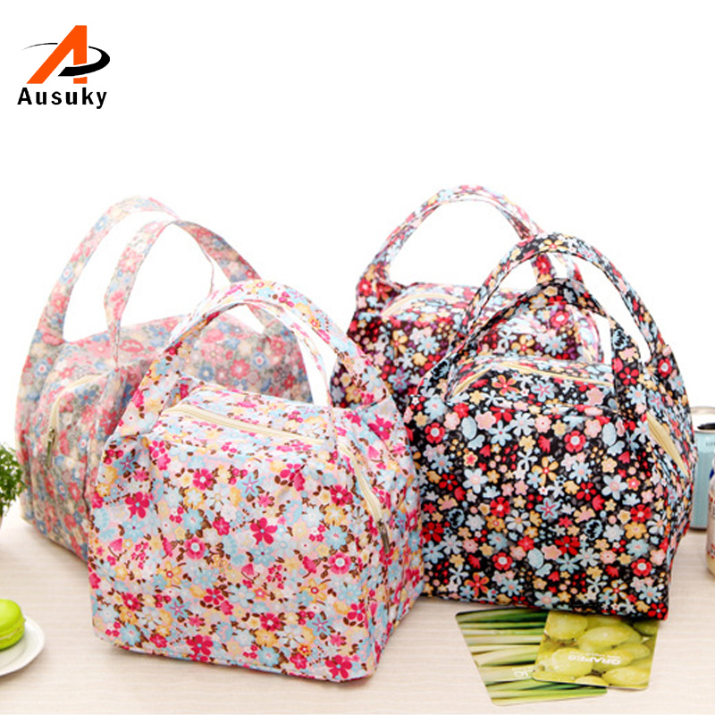 New Fashion Portable Insulated Canvas lunch Bag Thermal Food Picnic Lunch Bags for Women kids