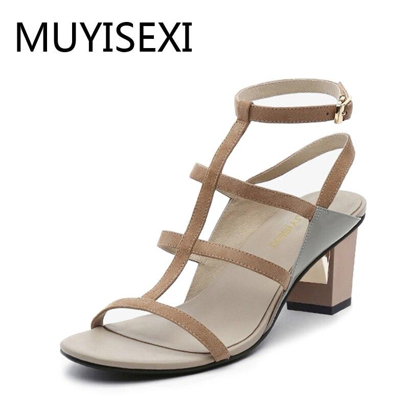 Gladiator Sandals Women 5 cm Chunky High Heel Shoes Woman Straps Narrow Band sandalias mujer zapatos