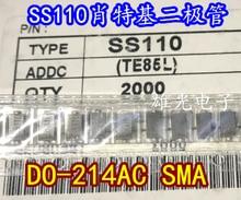 Freeshipping        SS110 1A 100V SMA DO-214AC sr5100 ss510 5a 100v do 214aa