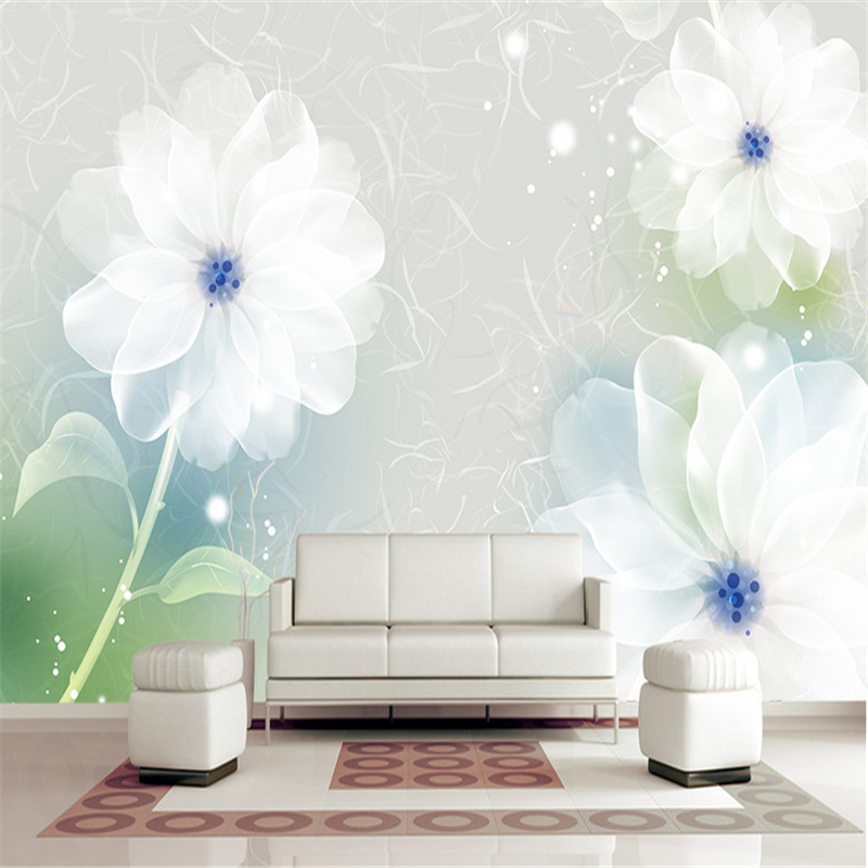 European Aesthetic Wallpaper Dreamy Lily Romantic Couple Room Background Wall Transparent Floral Bedroom Murals