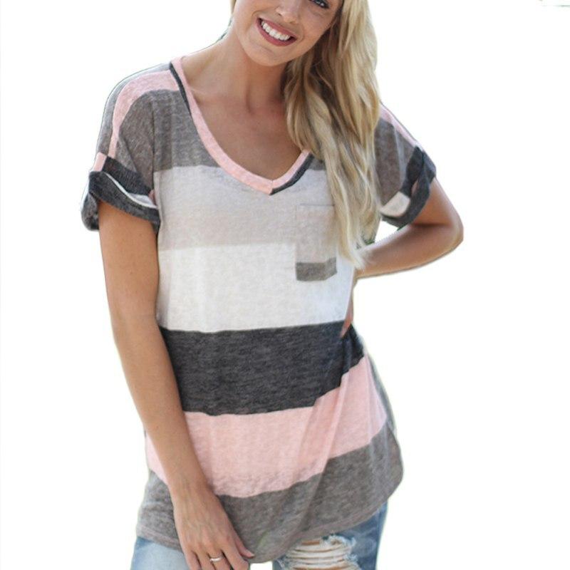 מקרית Loose נשים חולצות סקסי V-צוואר סדיר קצר שרוול חולצות הדפסת פס אופנה קיץ חולצה טי LM75