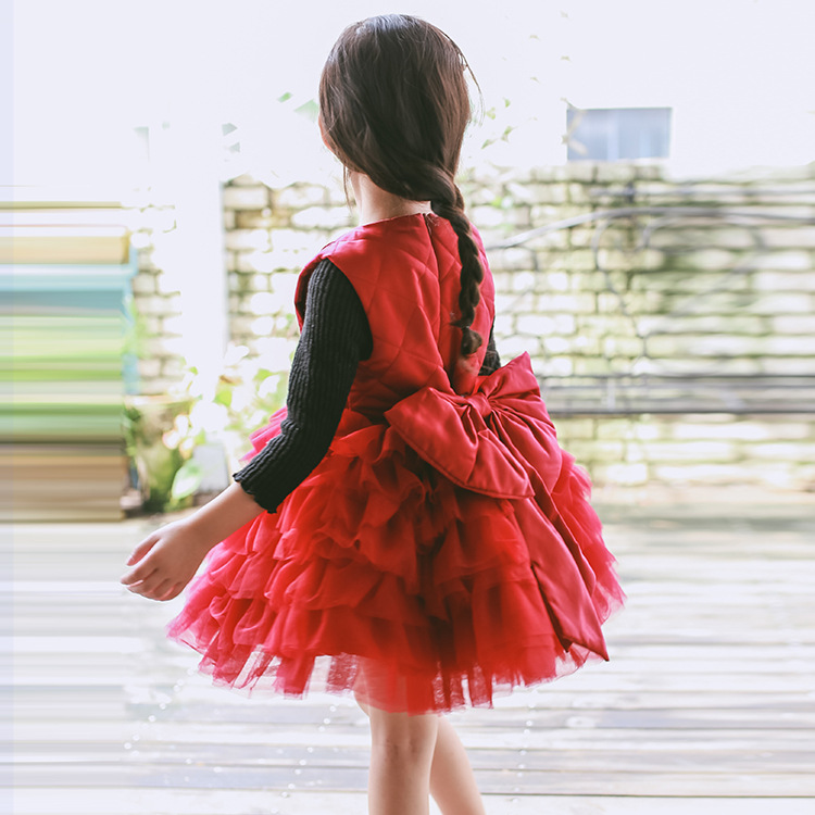 ФОТО New Baby Girls Dress Fall Winter Children's clothing cotton sleeveless Bow dresses Girls clothing for wedding birthday party