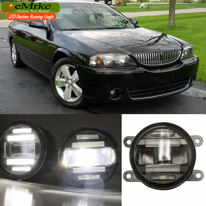 eeMrke Car Styling For Lincoln LS 2005 2006 2 in 1 LED Fog Light Lamp DRL With Lens Daytime Running Lights eemrke car styling for opel zafira opc 2005 2011 2 in 1 led fog light lamp drl with lens daytime running lights