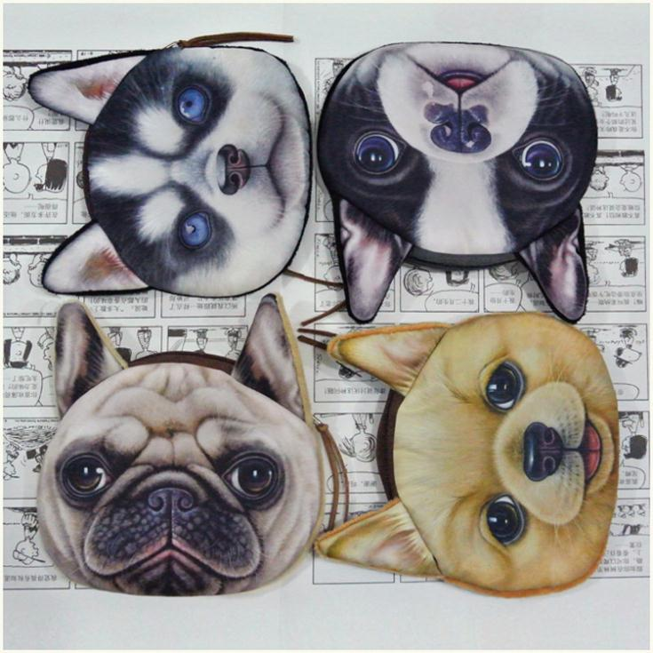coin purses wallet 2014 new  ladies 3D printing dog cat animal big face change fashion cute small zipper bag for women pouch