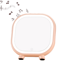 1pc Makeup Mirror Night Light Storage LED Light Make Up Cosmetic Table Lamp with Bluetooth Speaker Hands-Free For Lady Gift A187