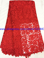 No.F3 4! hot selling red French water soluble lace fabric!high class African fashion guipure lace fabric!