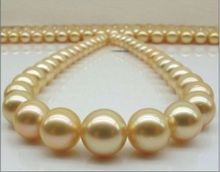 women gift word Jewelry 17INCH GOLD CLASP HUGE AAAA 13-14mm Natural south sea genuine gold round pearl necklace