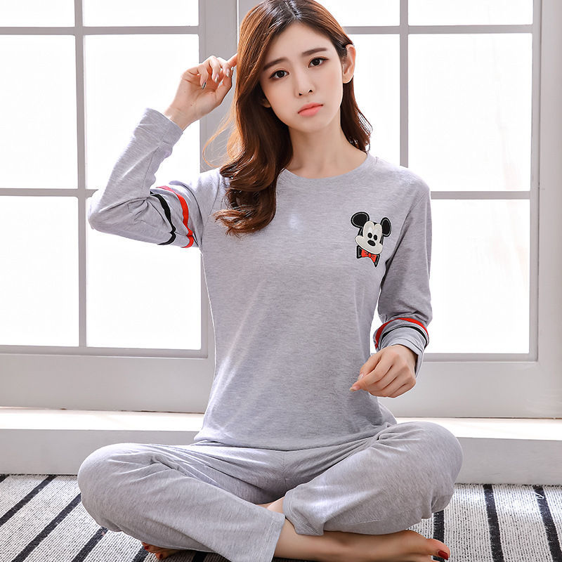 2019 Women Pajamas Sets Autumn Winter New Women Pyjamas Cotton Clothing Long Tops Set Female Pyjamas Sets NightSuit Mother Sleep 98