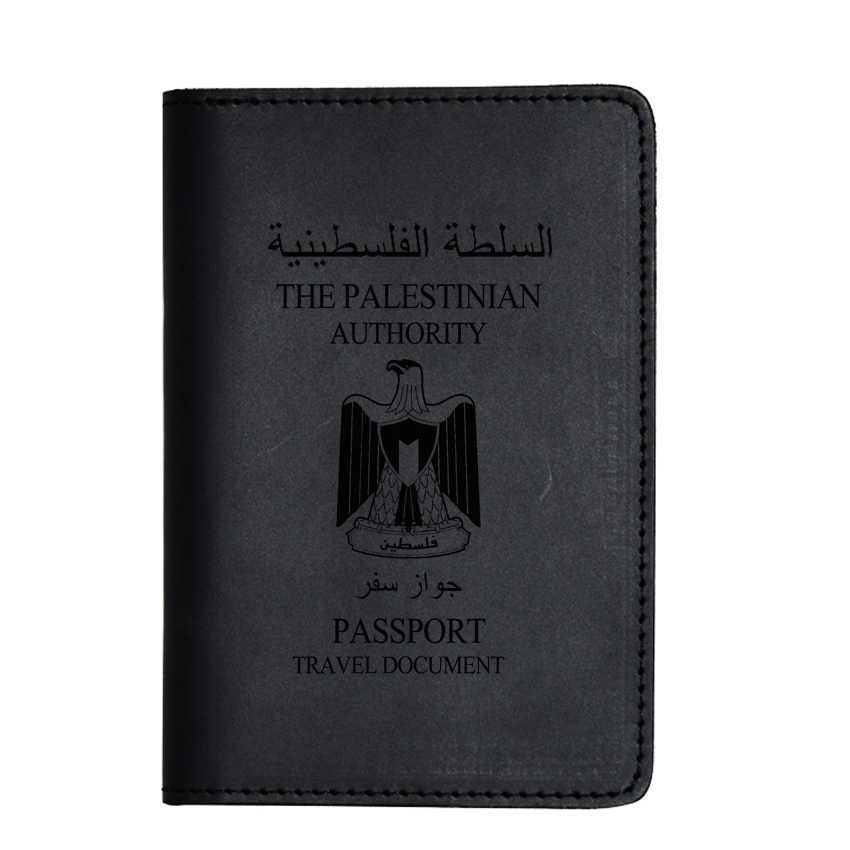 Palestine Passport Cover Simple Leather Passport Holders Engrave Name Travel travel document Men Passport Cover