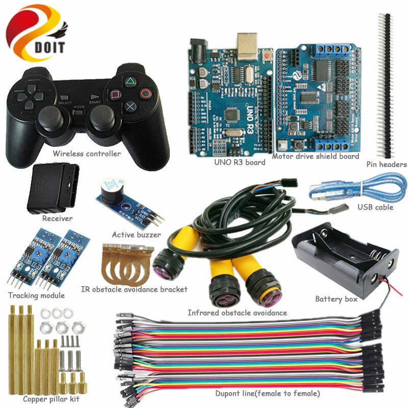 WiFi Control Kit with UNO R3 Board for Arduino +Motor Drive Shield Board for Tracking Infrared Obstacle Avoidance Arduino RC Kit 5v 2 channel ir relay shield expansion board module for arduino with infrared remote controller