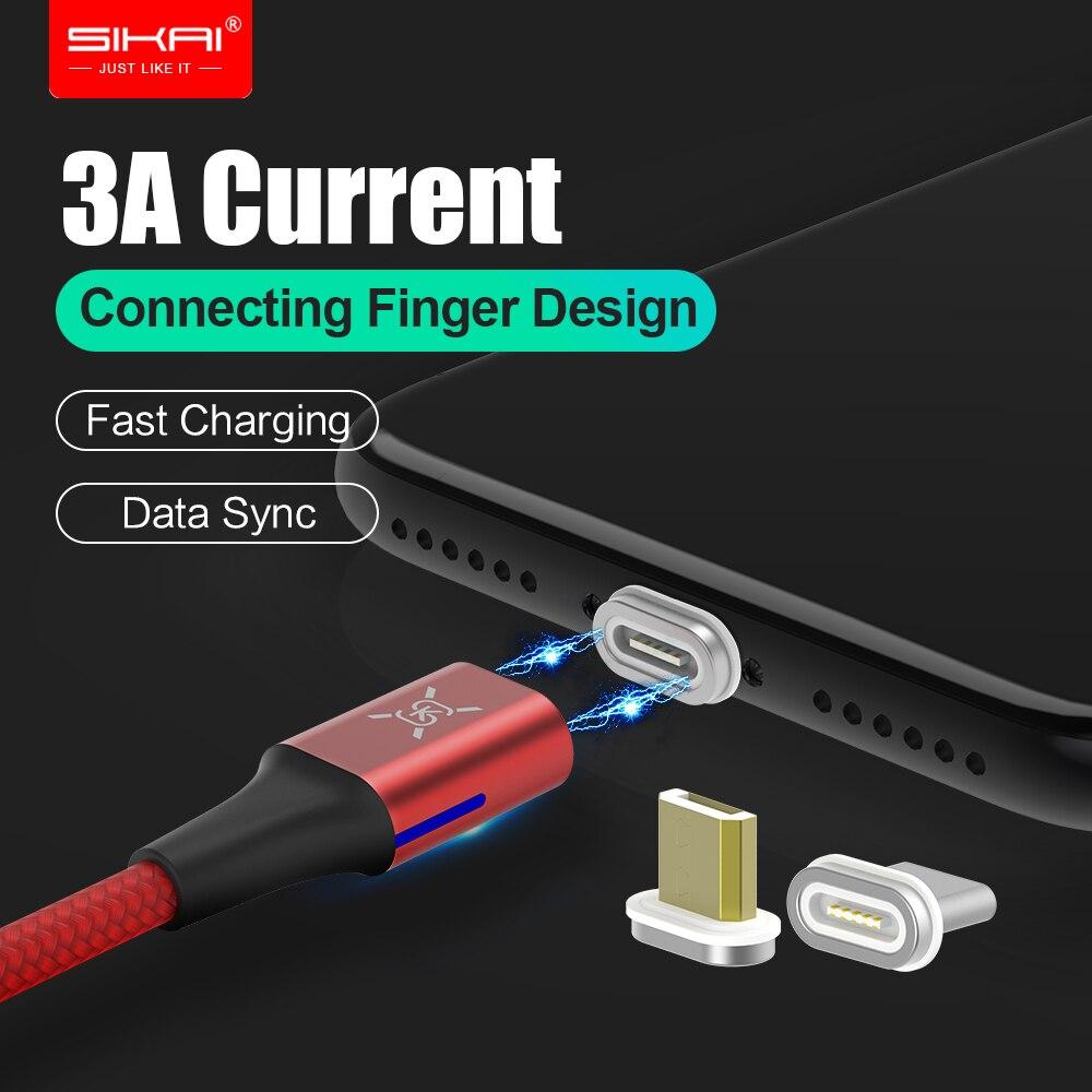 Sk Magnetische Daten Kabel 3a Nylon Geflochtene Magnet Micro Usb Schnelle Ladekabel Usb C Auto Ladegerät Für Iphone X Samsung S9 Xiaomi
