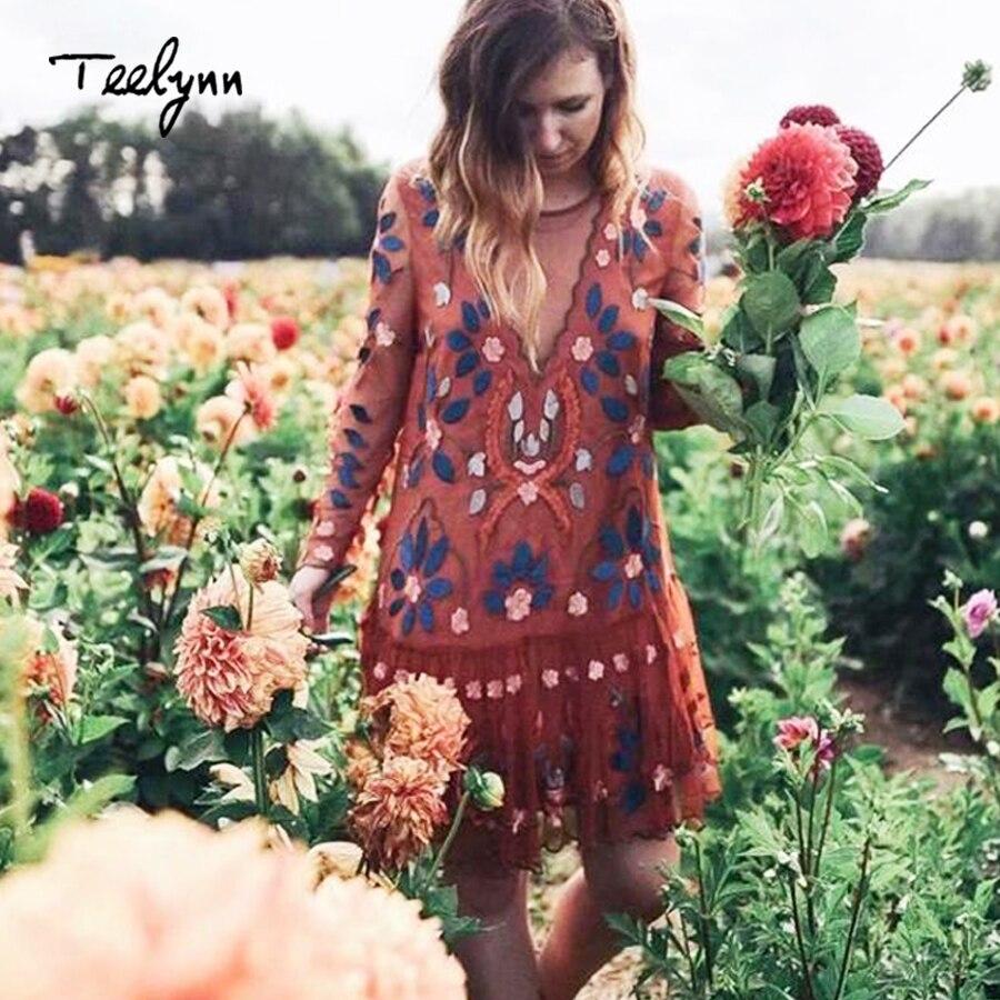TEELYNN Vintage mesh Floral Embroidery Dresses 2018 autumn long sleeve dress sexy backless mini women dress
