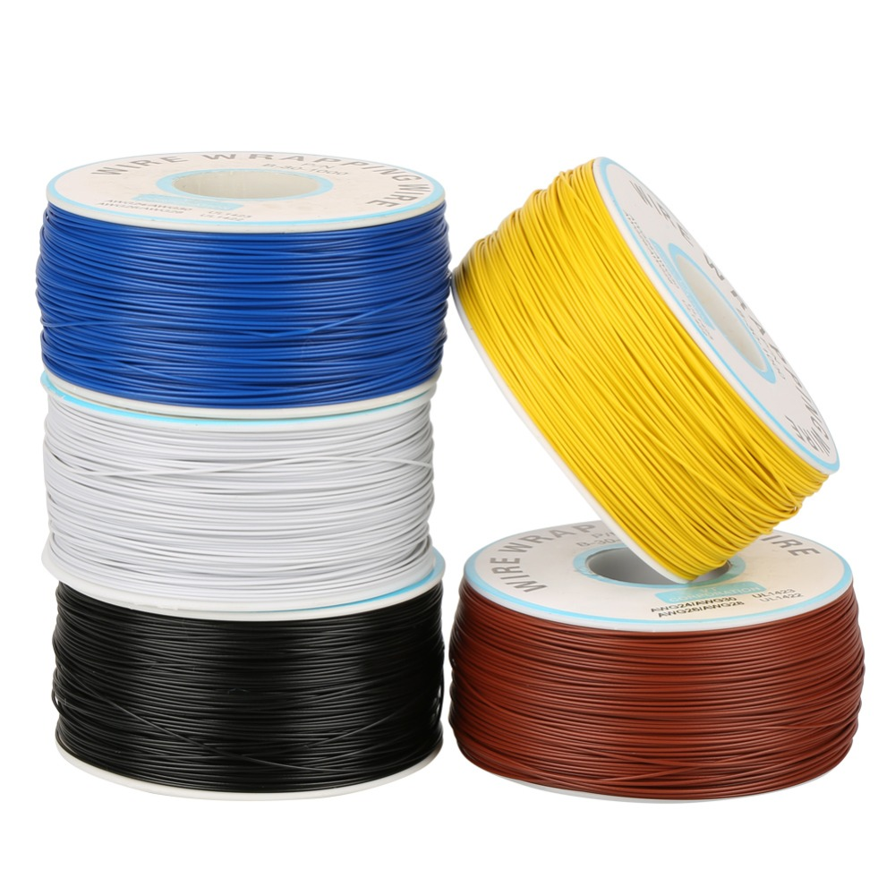 1Roll <font><b>Wire</b></font>-Wrapping Single Copper <font><b>Wire</b></font> Strand 30AWG Cable 0.25mm <font><b>Core</b></font> Diameter for Electronic Test and PCB Soldering <font><b>5</b></font> Colors image