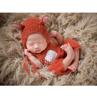 Newborn Fox Hat Newborn Mohair Romper Outfit Handmade Knitted Baby Hat Animal Bonnet Photo Props Newborn